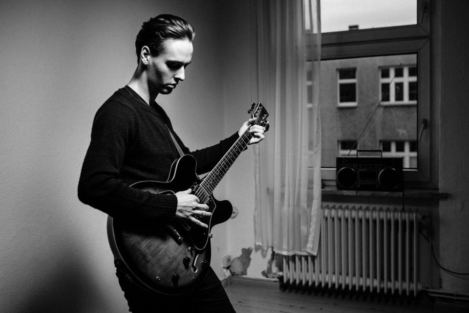 guitar musician black and white portrait