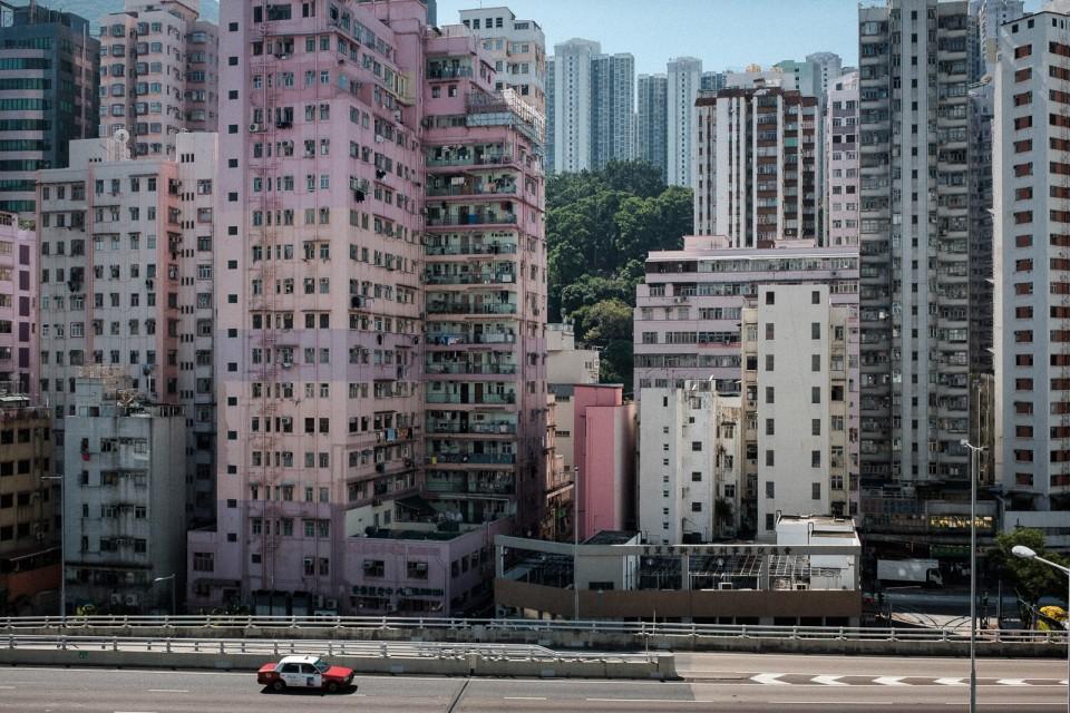 Taxi on street in hong kong shau kei wan