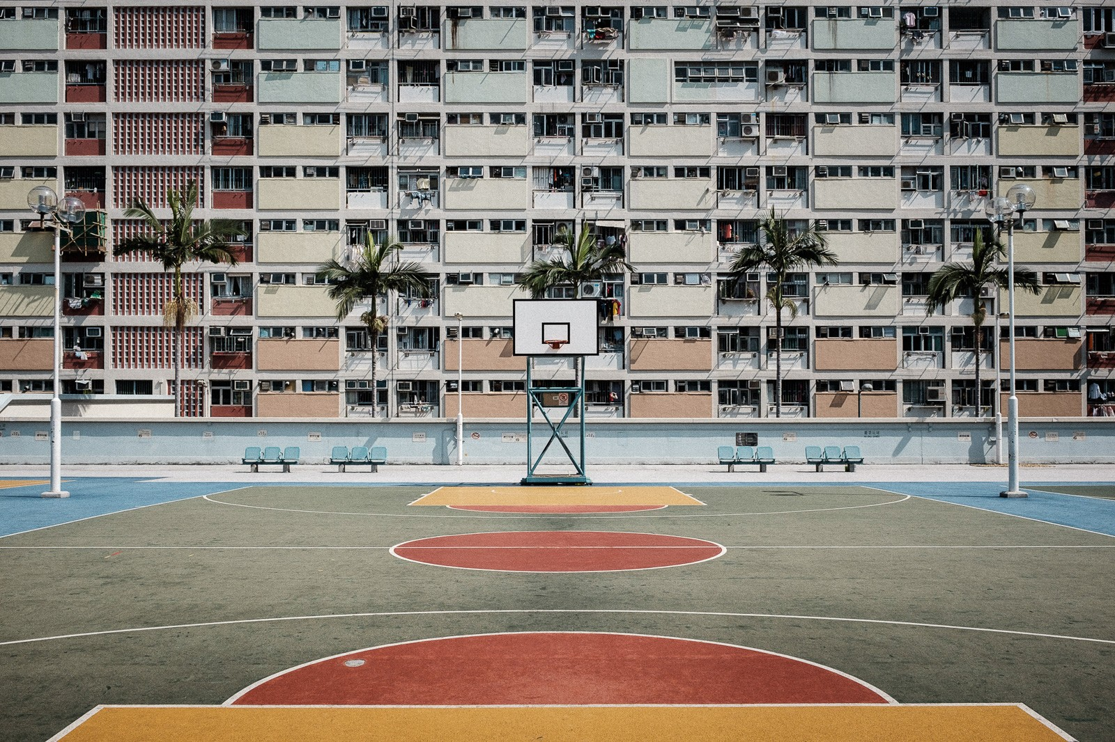 colorful basketball court in hong kong choi hung estate
