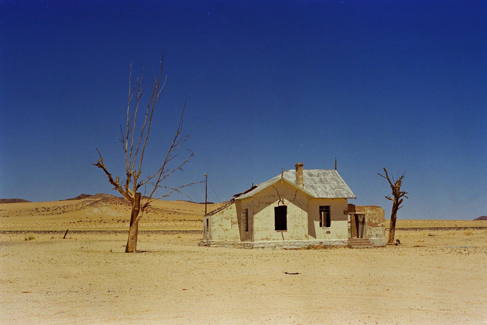 namibia abandoned train station in the desert