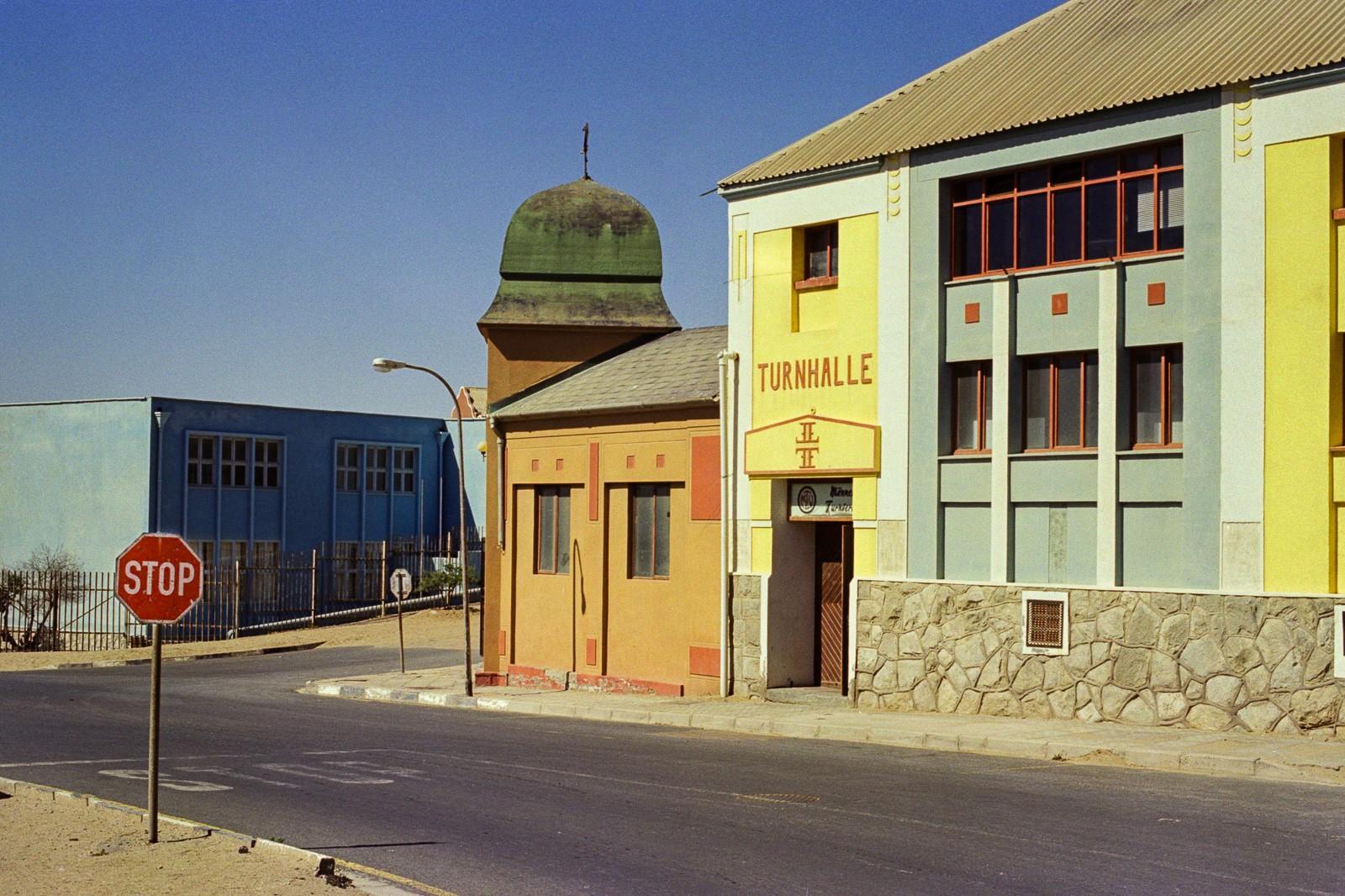 lüderitz namibia city portrait stop sign