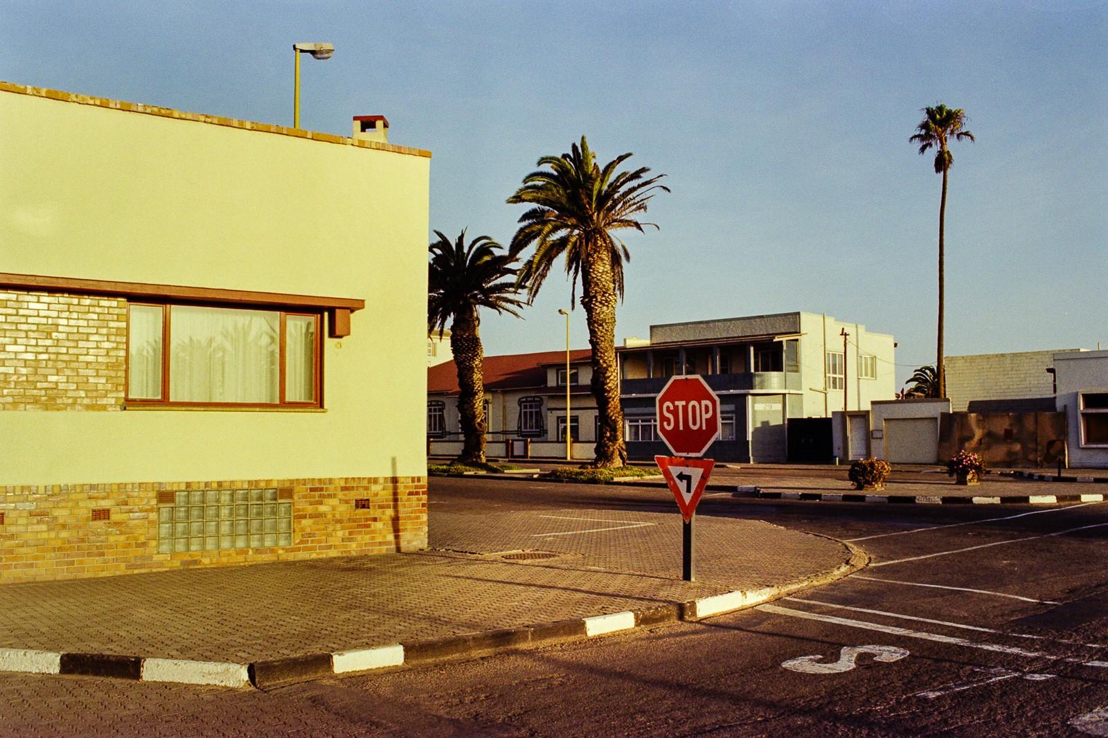 swakobmund namibia city portrait stop sign