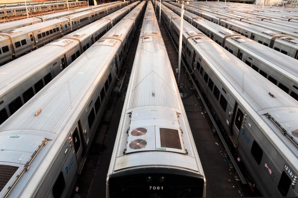 parked trains in hudson yards manhattan new york city