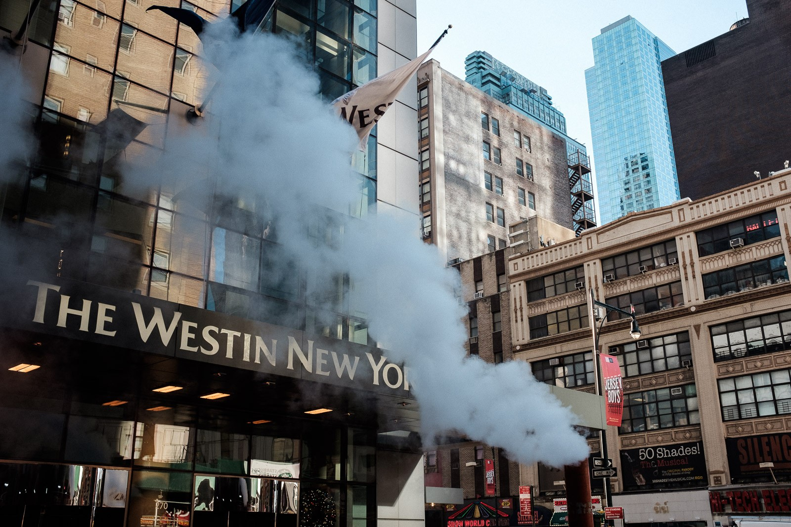 the westin new york grand central with steam from sewers