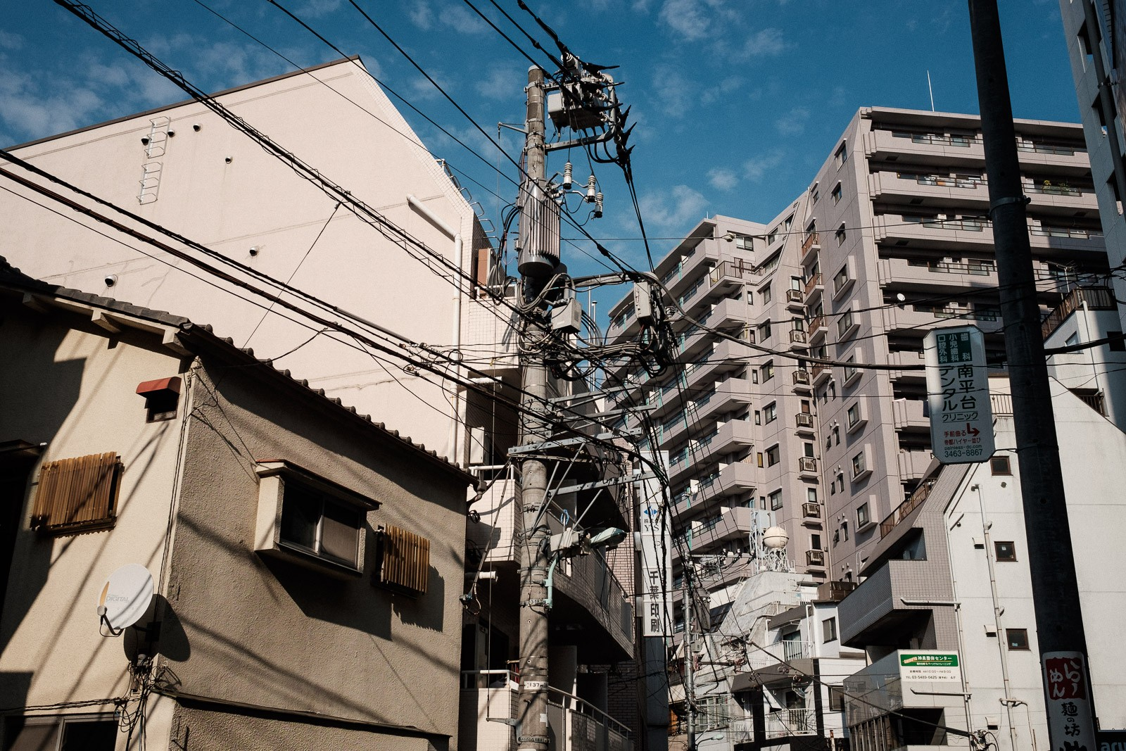 power lines and cables in shinsen tokyo