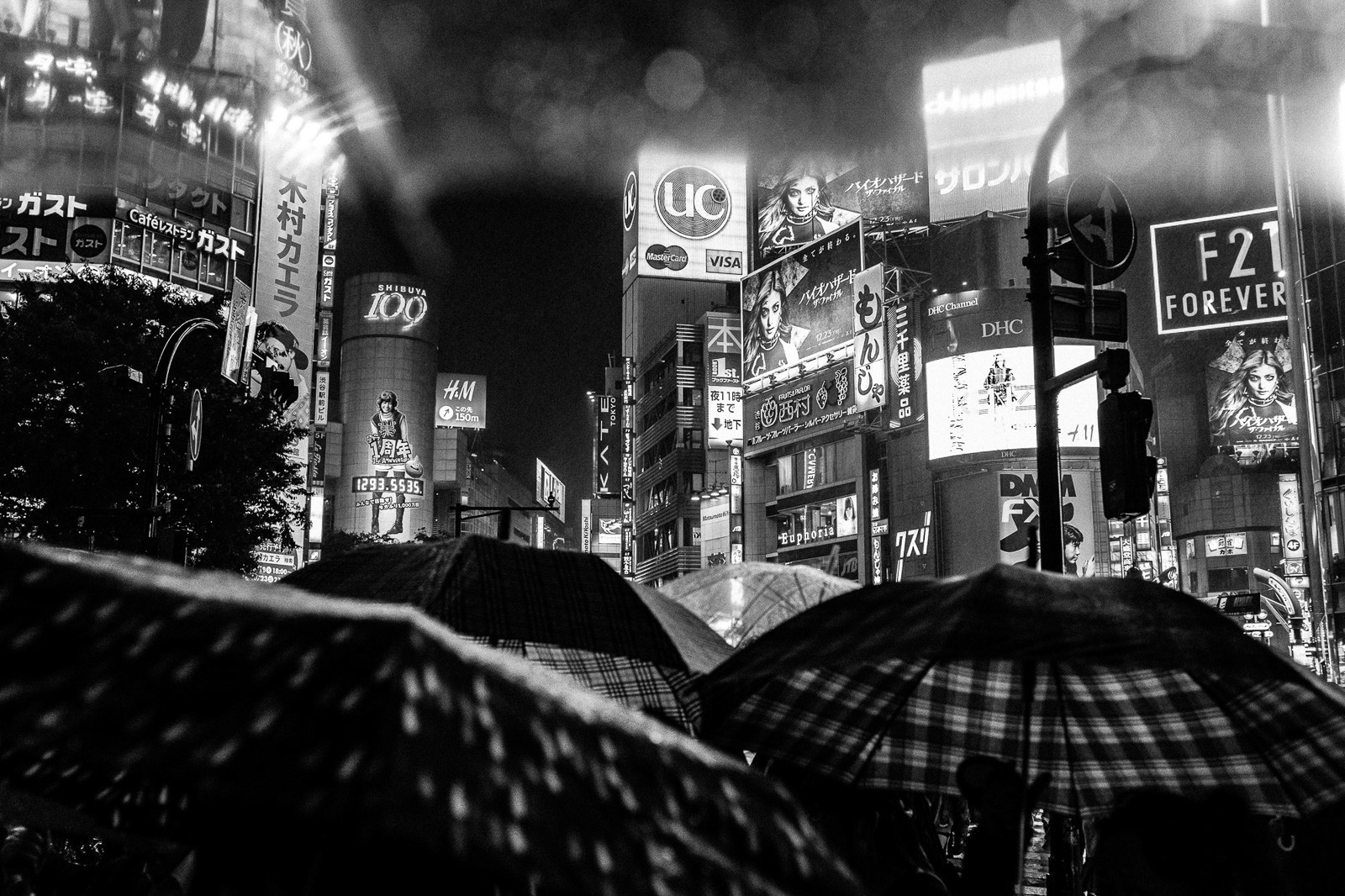 rainy mood with umbrellas at shibuya crossing tokyo